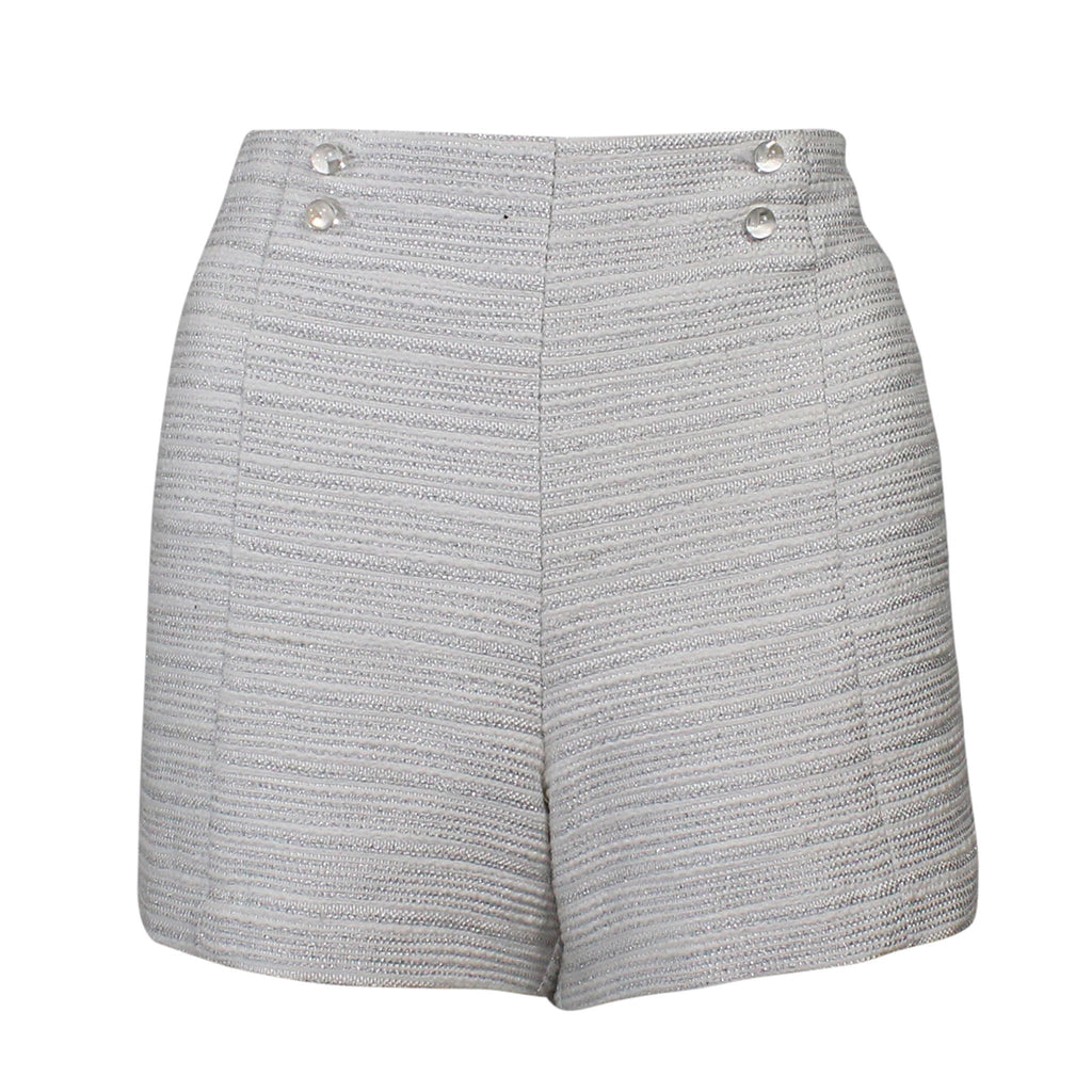 Leona by Lauren Leonard Pearl/Silver Metallic Tweed Silk Short Size 6 Muse Boutique Outlet | Shop Designer Clearance Shorts on Sale | Up to 90% Off Designer Fashion