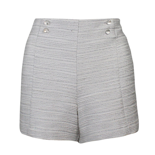 Leona by Lauren Leonard Metallic Tweed Silk Short 6 Pearl/Silver Muse Boutique Outlet