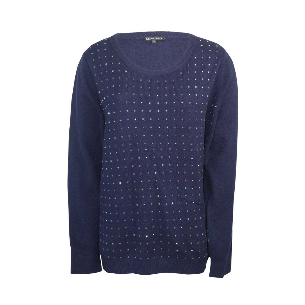 Leo & Ugo Navy Studded Pullover Sweater Size 5 Muse Boutique Outlet | Shop Designer Sweaters on Sale | Up to 90% Off Designer Fashion