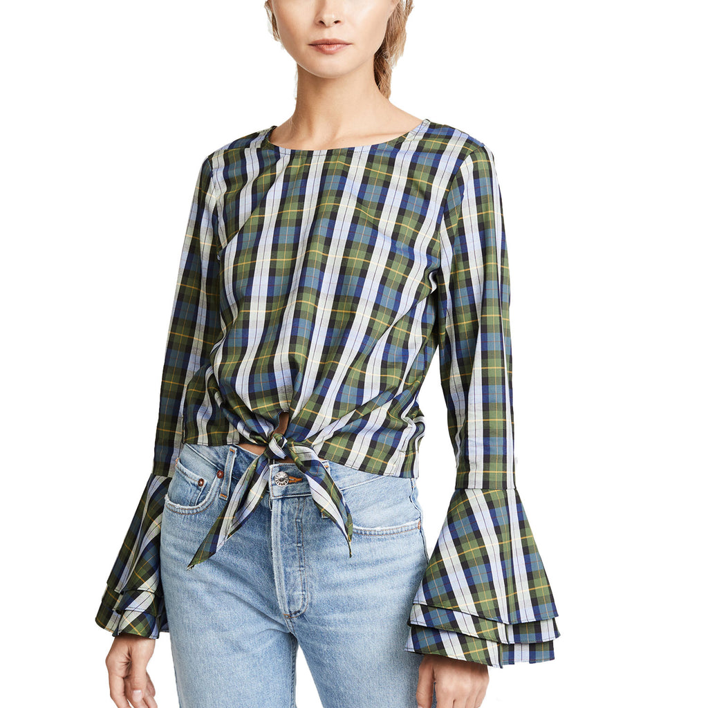 Likely Green Plaid Tie Waist Top Size Extra Small Muse Boutique Outlet | Shop Designer Long Sleeve Tops on Sale | Up to 90% Off Designer Fashion