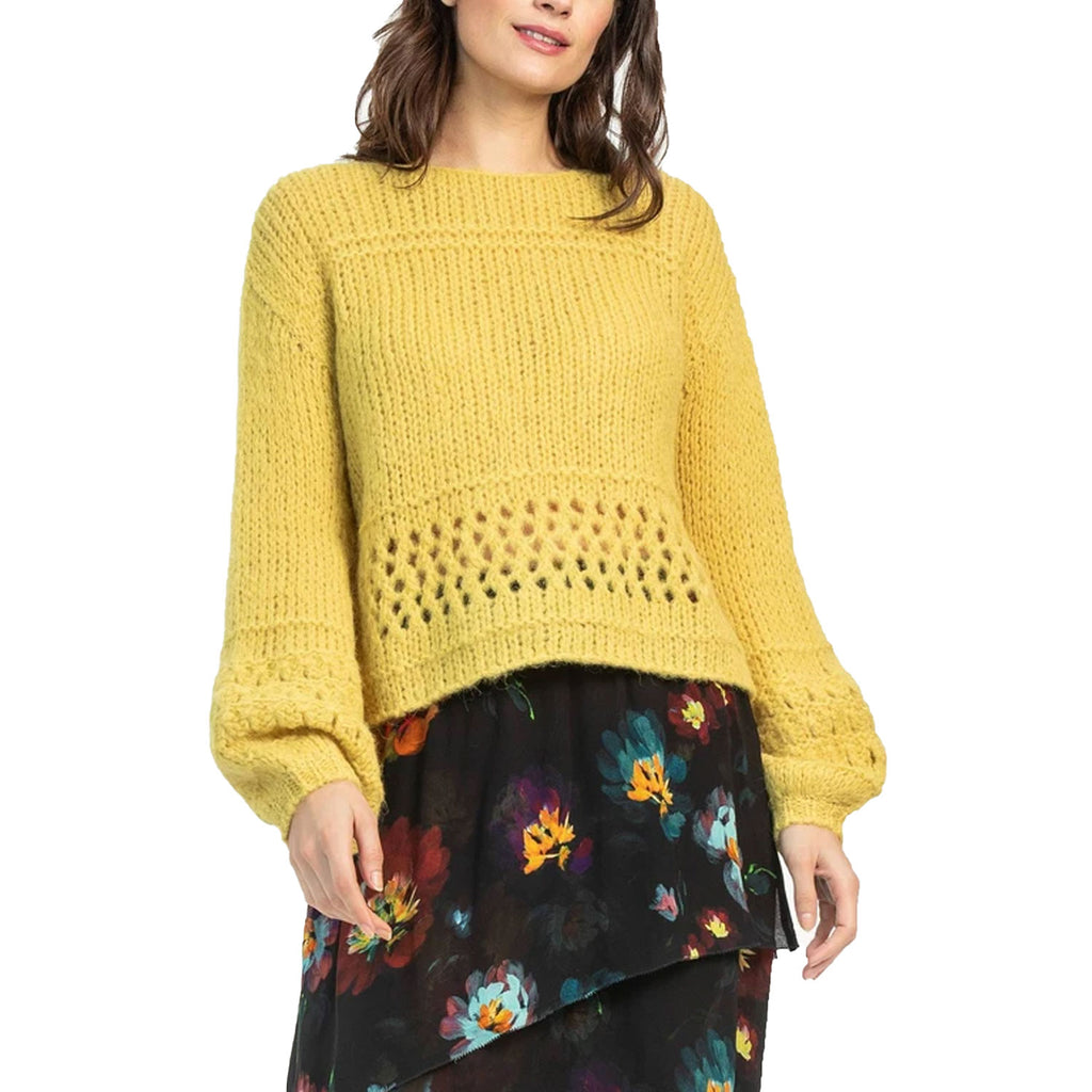 Lillia P Citron Cropped Boat Sweater Size Large Muse Boutique Outlet | Shop Designer Sweaters on Sale | Up to 90% Off Designer Fashion