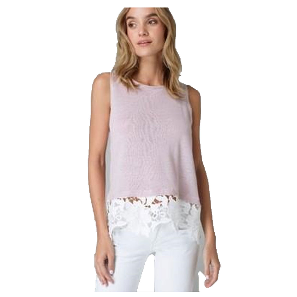 Lisa Todd Sugar Rose Allure Linen Top with Lace Trim Size Extra Small Muse Boutique Outlet | Shop Designer Sleeveless Tops on Sale | Up to 90% Off Designer Fashion