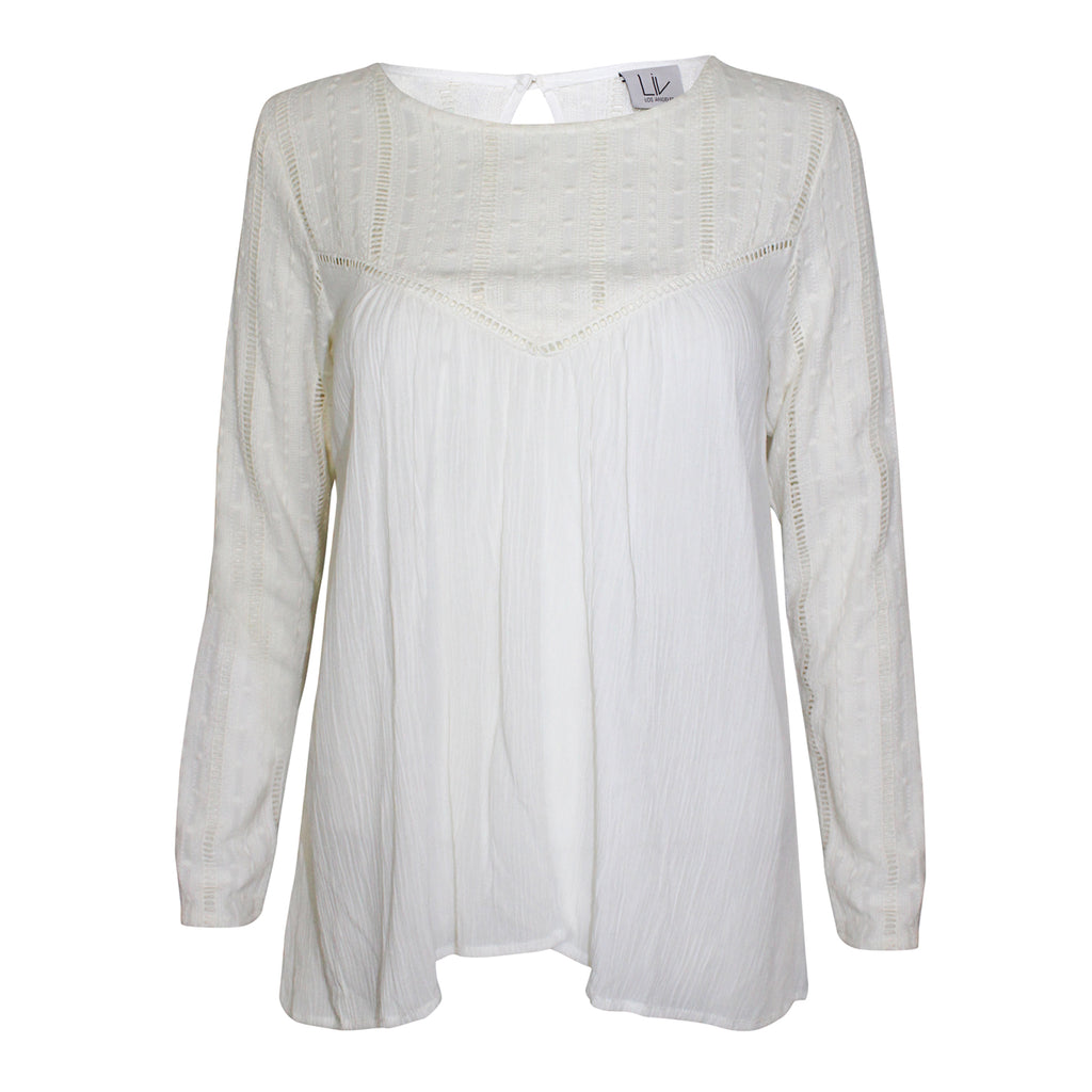 Liv Los Angeles Off-White Embroidered Cotton Gauze Top Size Extra Small Muse Boutique Outlet | Shop Designer Clearance Tops on Sale | Up to 90% Off Designer Fashion