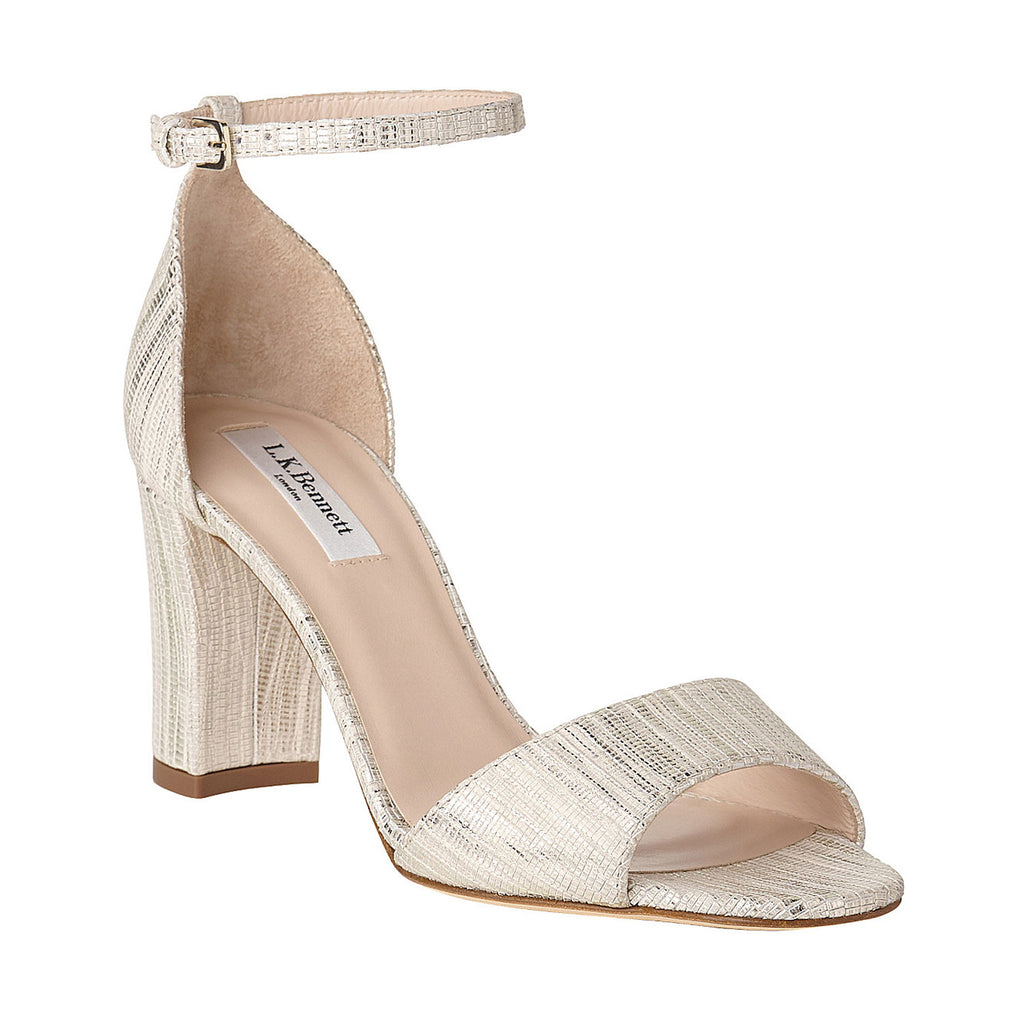 L.K. Bennett  Metallic Block Heel Sandal Size  Muse Boutique Outlet | Shop Designer Clearance Shoes on Sale | Up to 90% Off Designer Fashion