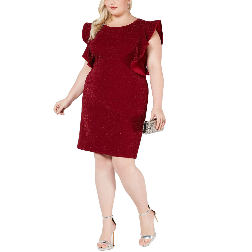 Love Squared Red Knit Ruffle Sleeve Dress Size 3X Muse Boutique Outlet | Shop Designer Clearance Dresses on Sale | Up to 90% Off Designer Fashion