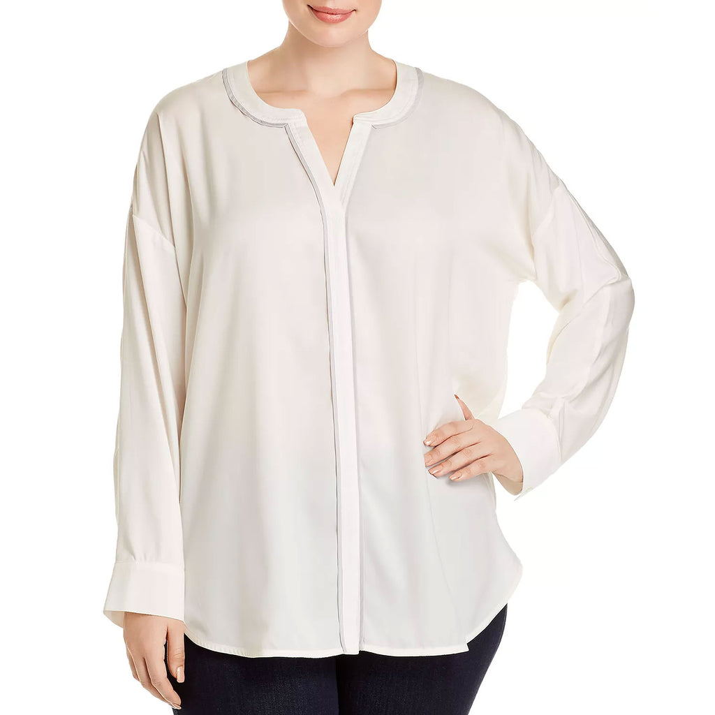 Lysse White Mika Piped Trim Top Size Extra Large Muse Boutique Outlet | Shop Designer Long Sleeve Tops on Sale | Up to 90% Off Designer Fashion