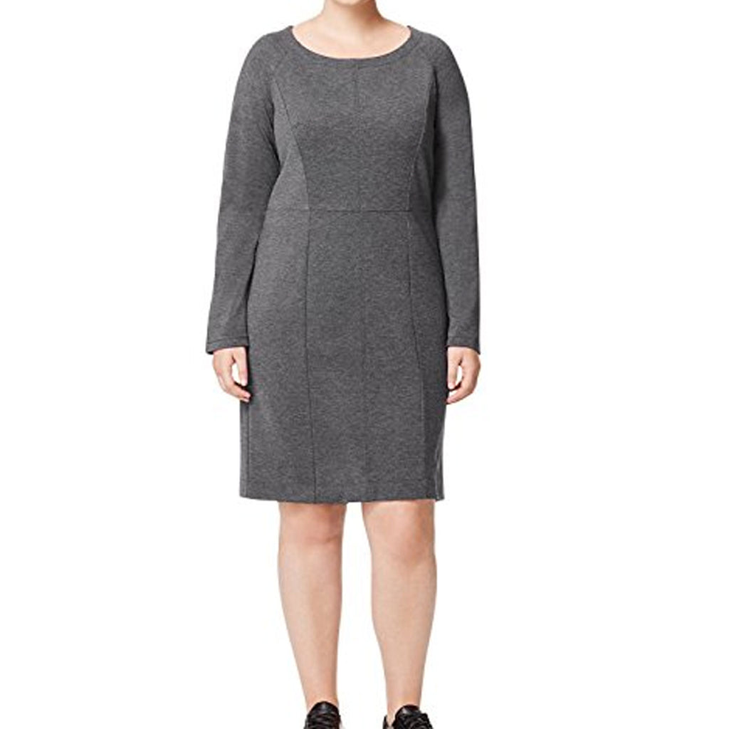 Marina Sport Charcoal Ponte Knit Sheath Dress Plus Size Size Large Muse Boutique Outlet | Shop Designer Plus Size Dresses on Sale | Up to 90% Off Designer Fashion