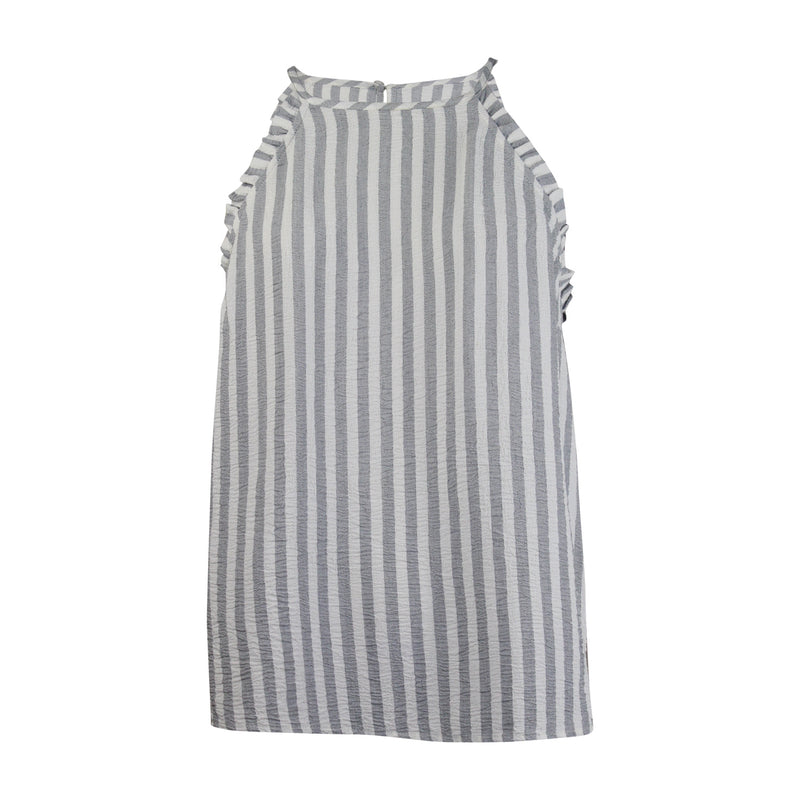 Maven West Grey/Natural Stripe Ruffle Cami Top Size Extra Small Muse Boutique Outlet | Shop Designer Sleeveless Tops on Sale | Up to 90% Off Designer Fashion