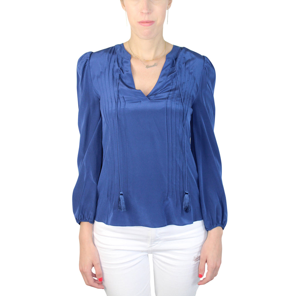 Marie Oliver Indigo Ramsay Pintuck Top Size Extra Extra Small Muse Boutique Outlet | Shop Designer Clearance Tops on Sale | Up to 90% Off Designer Fashion