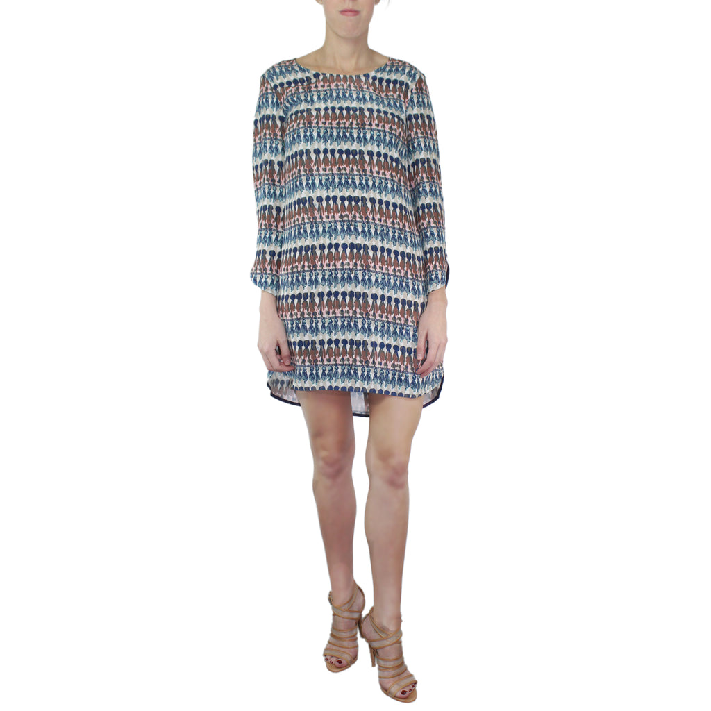 Long Sleeve Printed Silk Shift Dress
