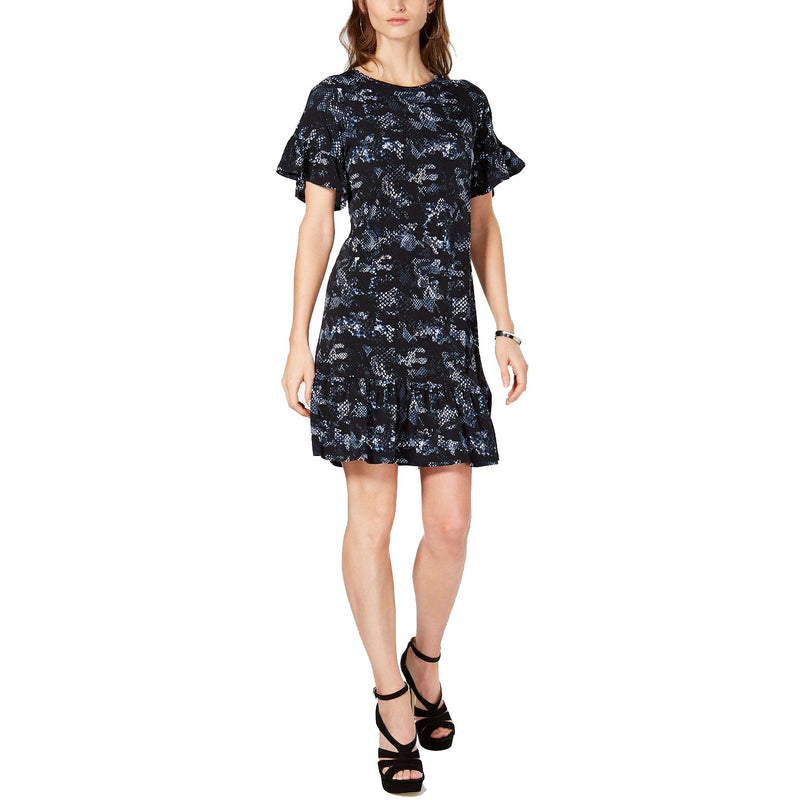 Michael Kors Snake Print Ruffle Dress Petite Black Muse Boutique Outlet | Shop Designer Dresses on Sale | Up to 90% Off Designer Fashion