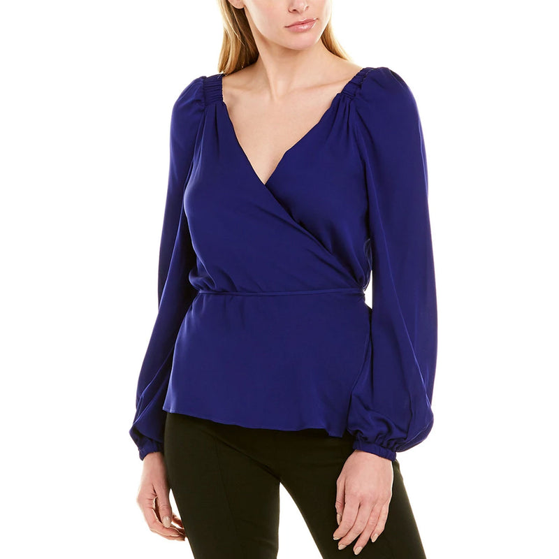 Milly Sapphire Hallie Wrap Top Size 4 Muse Boutique Outlet | Shop Designer Long Sleeve Tops on Sale | Up to 90% Off Designer Fashion