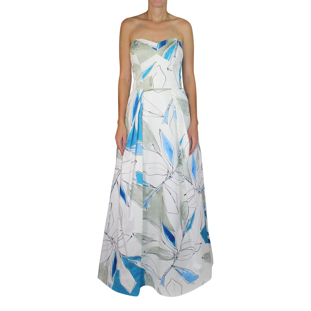 Milly Blue Multi Ava Printed Strapless Ball Gown Size 8 Muse Boutique Outlet | Shop Designer Evening/Cocktail on Sale | Up to 90% Off Designer Fashion