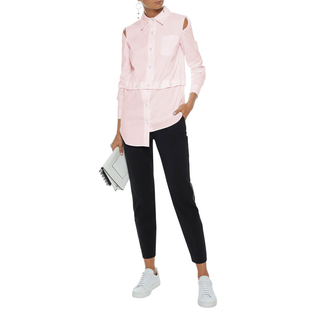Milly Ballet Asymmetric Cutout Cotton Poplin Shirt Size 14 Muse Boutique Outlet | Shop Designer Long Sleeve Tops on Sale | Up to 90% Off Designer Fashion