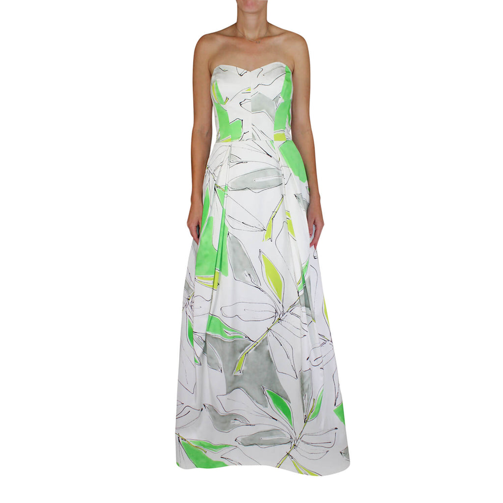Milly Green Multi Ava Printed Strapless Ball Gown Size 8 Muse Boutique Outlet | Shop Designer Evening/Cocktail on Sale | Up to 90% Off Designer Fashion