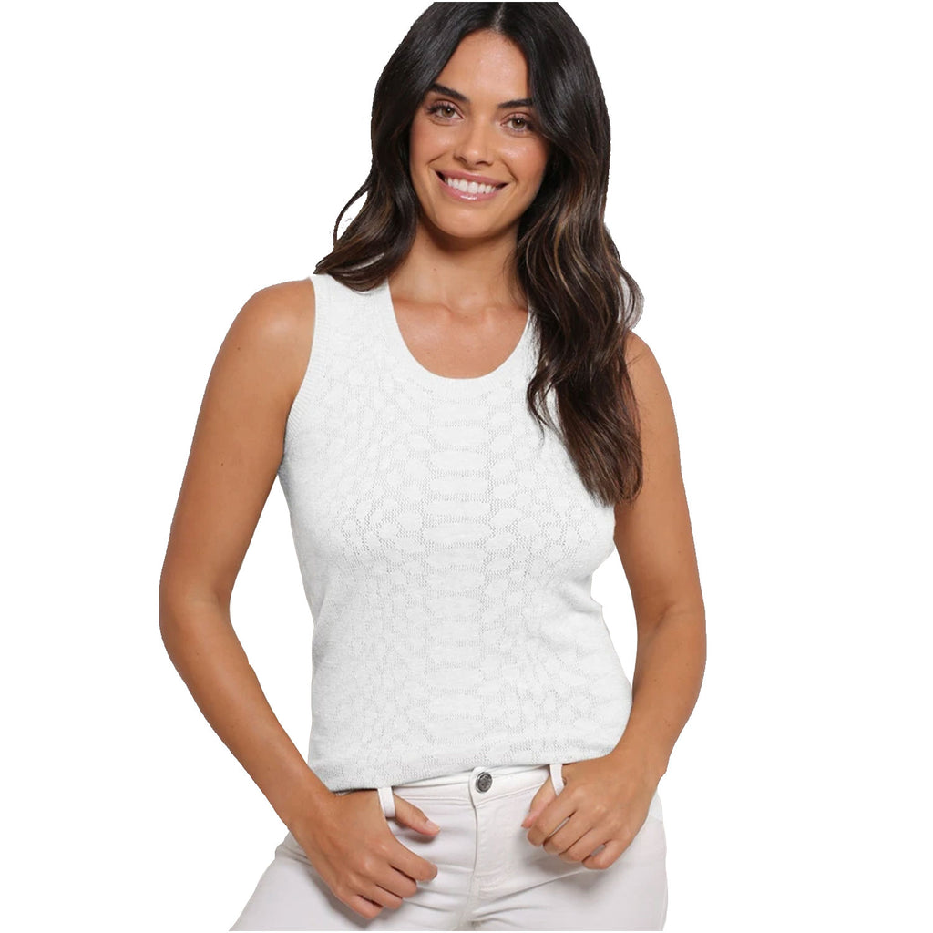 Minnie Rose  Python Knit Mesh Tank Size White Muse Boutique Outlet | Shop Designer Sleeveless Tops on Sale | Up to 90% Off Designer Fashion