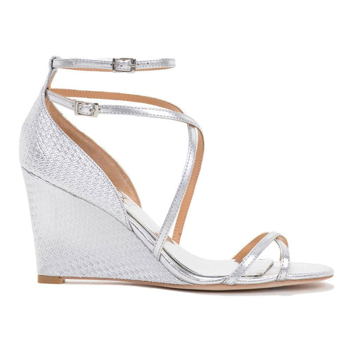 Badgley Mischka Melaney II - Open Toe Wedge 6 Silver Muse Boutique Outlet