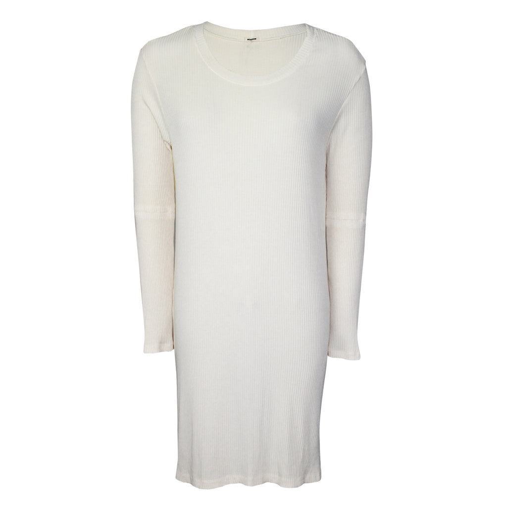 Monrow Ivory Ribbed Long Sleeve Tunic Size Extra Small Muse Boutique Outlet | Shop Designer Dresses on Sale | Up to 90% Off Designer Fashion