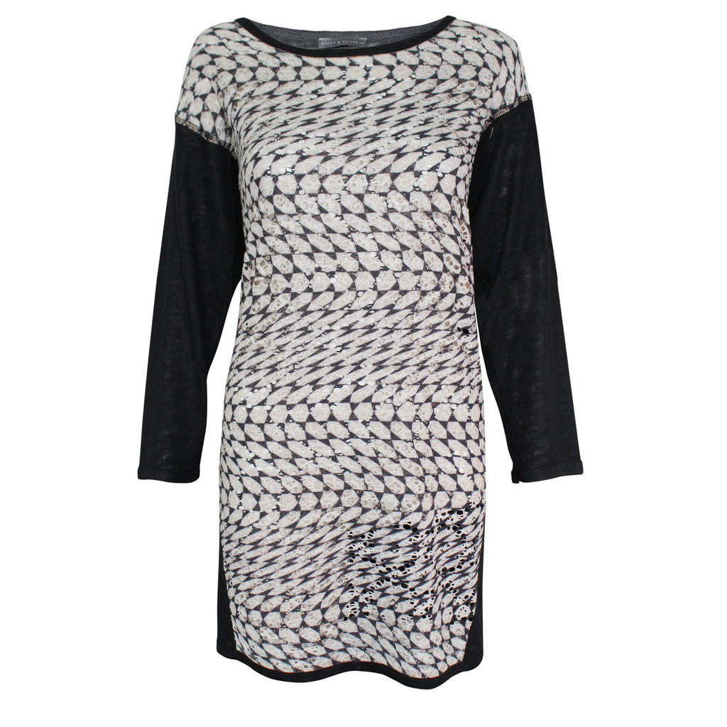 Nally & Millie Black/White Printed Lace Front Dress Size Small/Medium Muse Boutique Outlet | Shop Designer Clearance Dresses on Sale | Up to 90% Off Designer Fashion