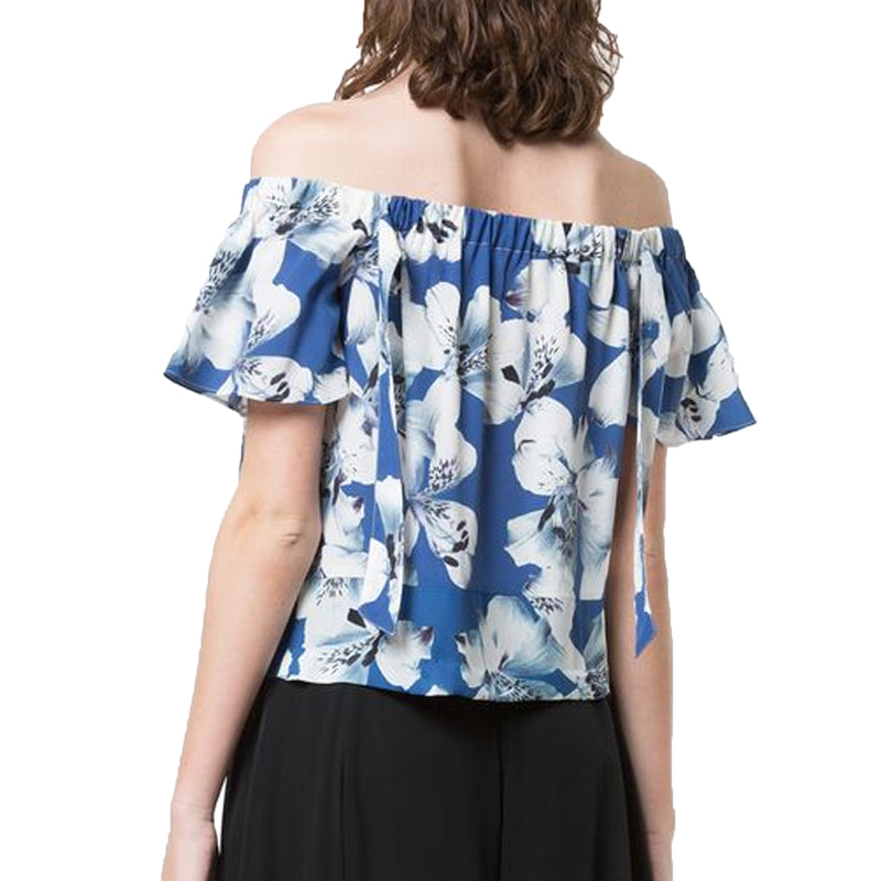 Nicole Miller  Off The Shoulder Tie Top Size  Muse Boutique Outlet | Shop Designer Short Sleeve Tops on Sale | Up to 90% Off Designer Fashion