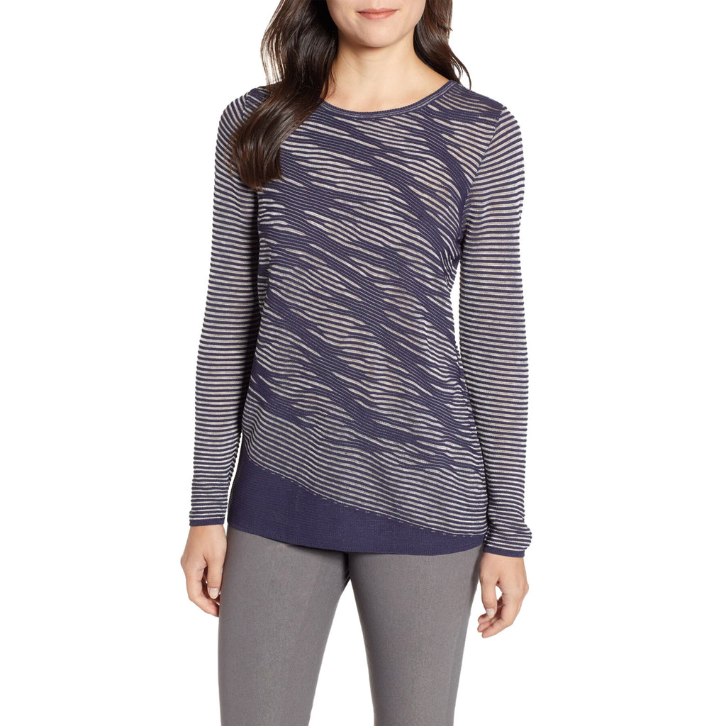 NIC + ZOE Navy This Is Living Long Sleeve Top Size Small Muse Boutique Outlet | Shop Designer Long Sleeve Tops on Sale | Up to 90% Off Designer Fashion