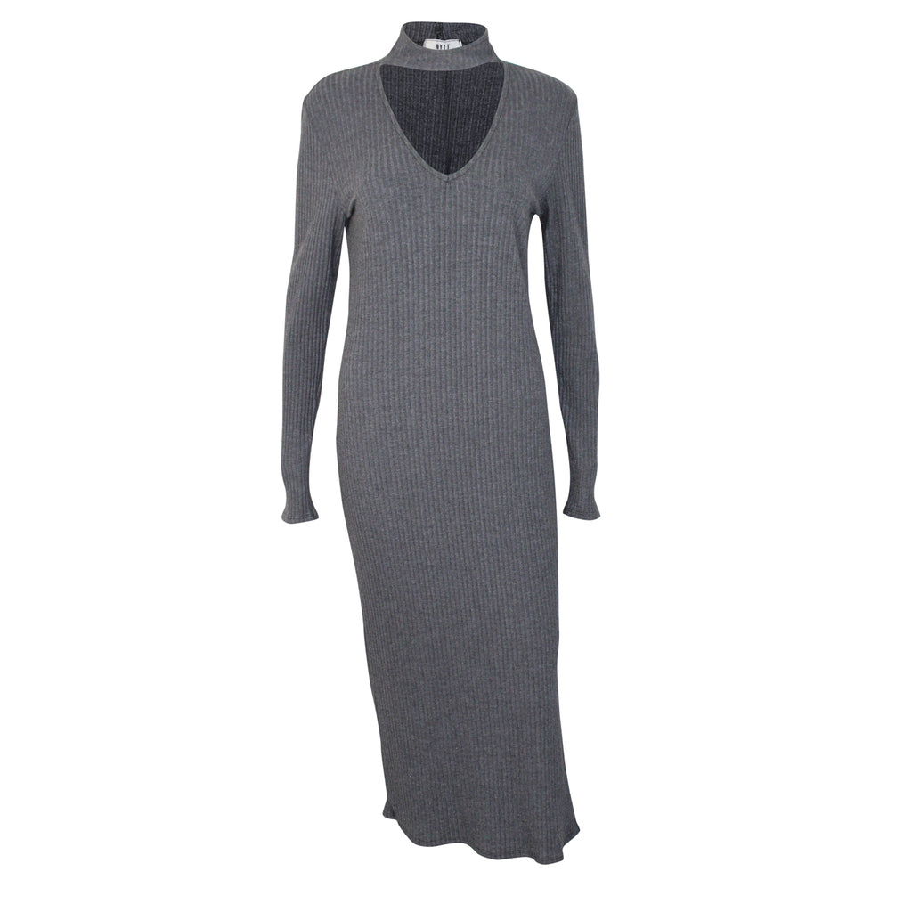 NYTT Charcoal Long Sleeve Ribbed Midi Dress Size Small Muse Boutique Outlet | Shop Designer Clearance Dresses on Sale | Up to 90% Off Designer Fashion