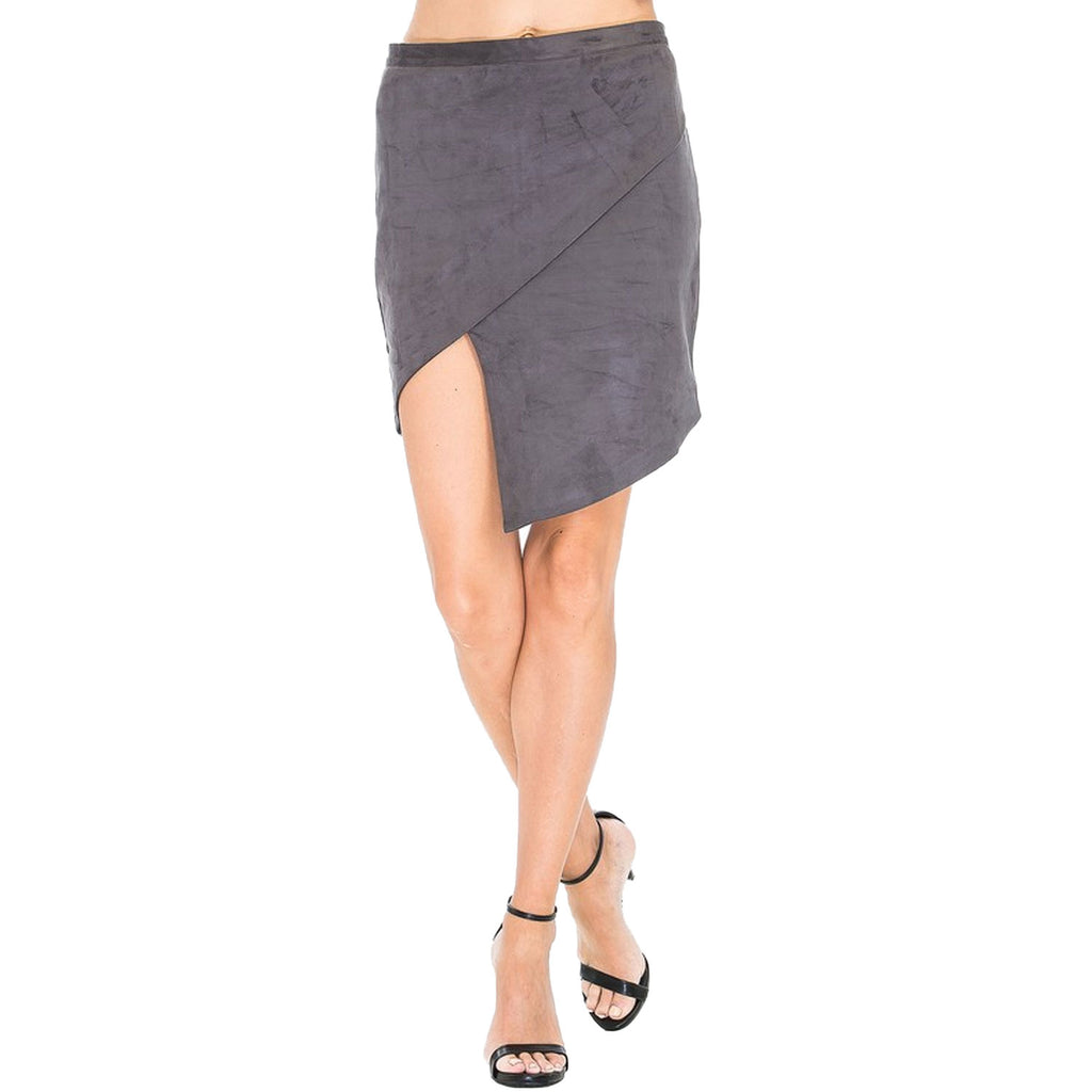 Olivaceous Olive Faux Suede Asymmetric Skirt Size Small Muse Boutique Outlet | Shop Designer Clearance Skirts on Sale | Up to 90% Off Designer Fashion