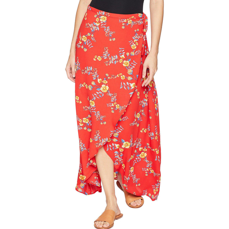 Olive + Oak Red Poppy, Ditsy Vine Floral Print Maxi Skirt Size Small Muse Boutique Outlet | Shop Designer Clearance Skirts on Sale | Up to 90% Off Designer Fashion