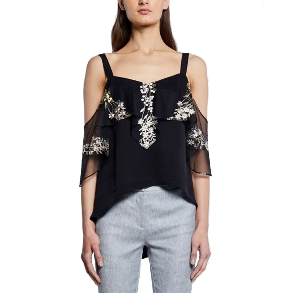 Once Was Black Clifton Hankerchief Ruffle Cold Shoulder Top Size 0 Muse Boutique Outlet | Shop Designer Short Sleeve Tops on Sale | Up to 90% Off Designer Fashion