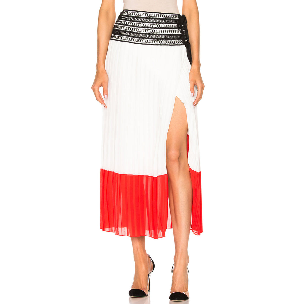 Oscar De La Renta Cayenne & White Pleated Skirt Size 6 Muse Boutique Outlet | Shop Designer Skirts on Sale | Up to 90% Off Designer Fashion
