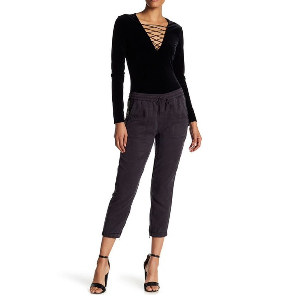 Pam & Gela Washed Black Tencel Pant With Beaded Trim Size Large Muse Boutique Outlet | Shop Designer Pant on Sale | Up to 90% Off Designer Fashion
