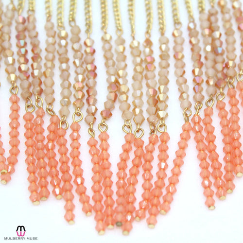 Private Label Peach Beaded Fringe Necklace   Muse Boutique Outlet