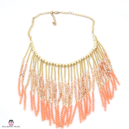 Private Label Peach Beaded Fringe Necklace OSFA Peach Muse Boutique Outlet