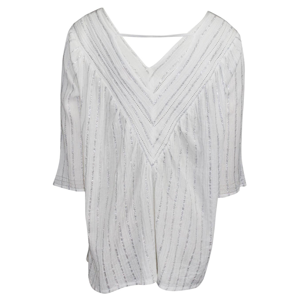 Pink Chicken  Metallic Stripe V-Neck Top Size  Muse Boutique Outlet | Shop Designer Three Quarter Sleeve Tops on Sale | Up to 90% Off Designer Fashion