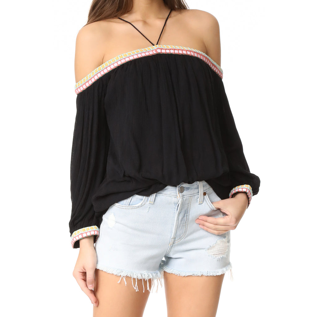 Piper Black Off The Shoulder Embroidered Top Size Extra Small Muse Boutique Outlet | Shop Designer Long Sleeve Tops on Sale | Up to 90% Off Designer Fashion