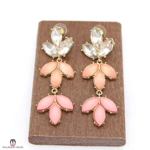 Private Label Pink and Clear Three Drop Floral Earring OSFA Pink/Peach Muse Boutique Outlet