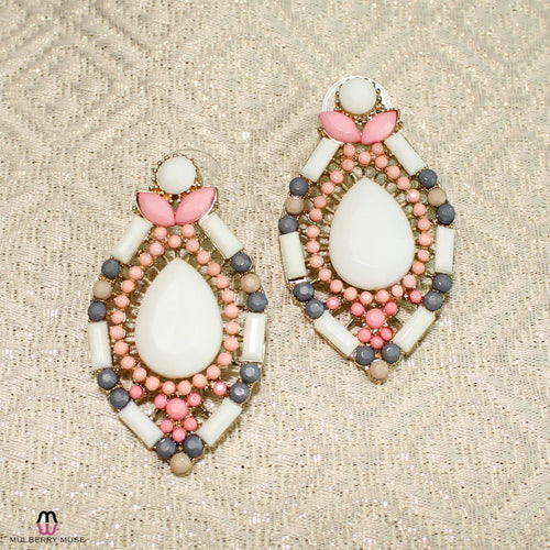 Private Label Pink and White Art Deco Beaded Oval Earring Pink/White  Muse Boutique Outlet