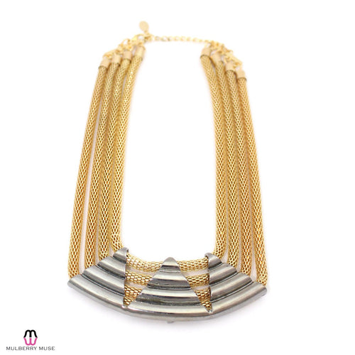 Private Label Gold Mesh Triangle Pendant Necklace Gold Gold Muse Boutique Outlet