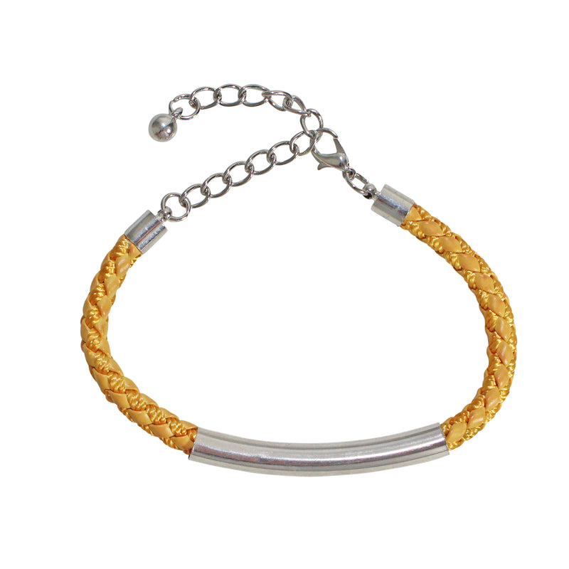 Private Label Marigold Woven Leather Bar Bracelet Size OSFA Muse Boutique Outlet | Shop Designer Clearance Jewelry on Sale | Up to 90% Off Designer Fashion