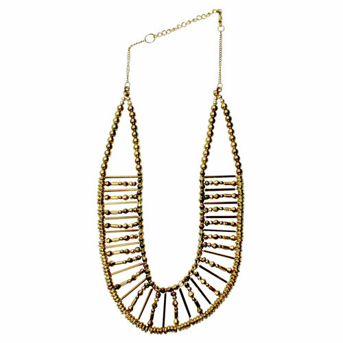 Private Label Double Layered Bib Necklace OSFA Gold Muse Boutique Outlet
