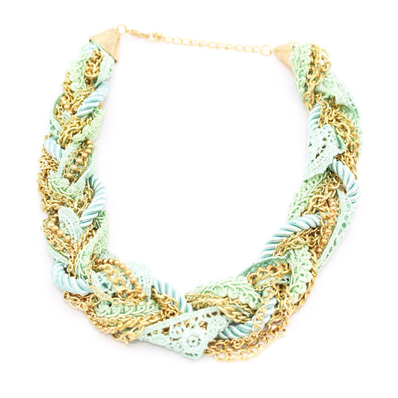Private Label Aqua/Gold Aqua Crochet Necklace Size OSFA Muse Boutique Outlet | Shop Designer Clearance Jewelry on Sale | Up to 90% Off Designer Fashion