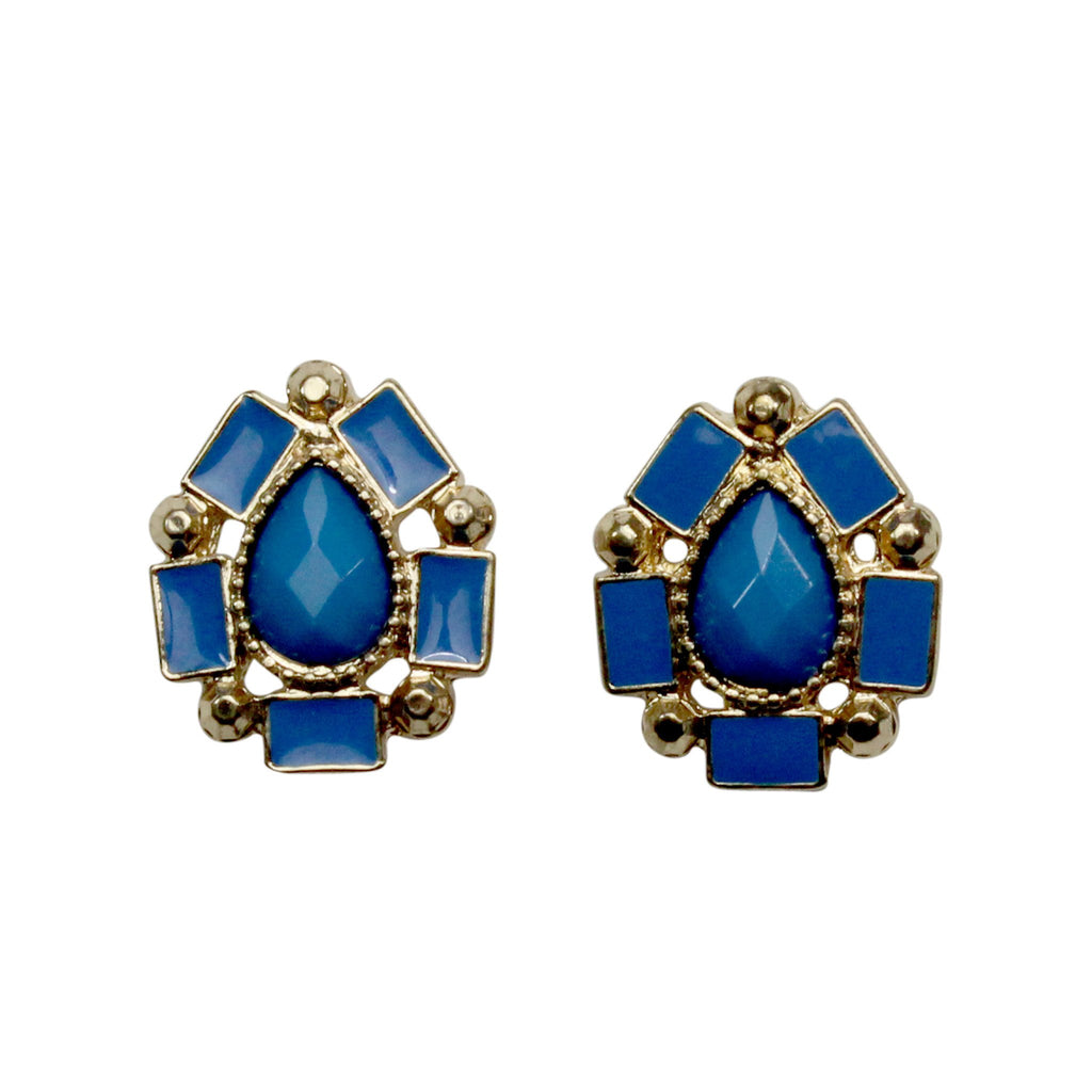 Private Label Blue Geometric Studs Size OSFA Muse Boutique Outlet | Shop Designer Clearance Jewelry on Sale | Up to 90% Off Designer Fashion