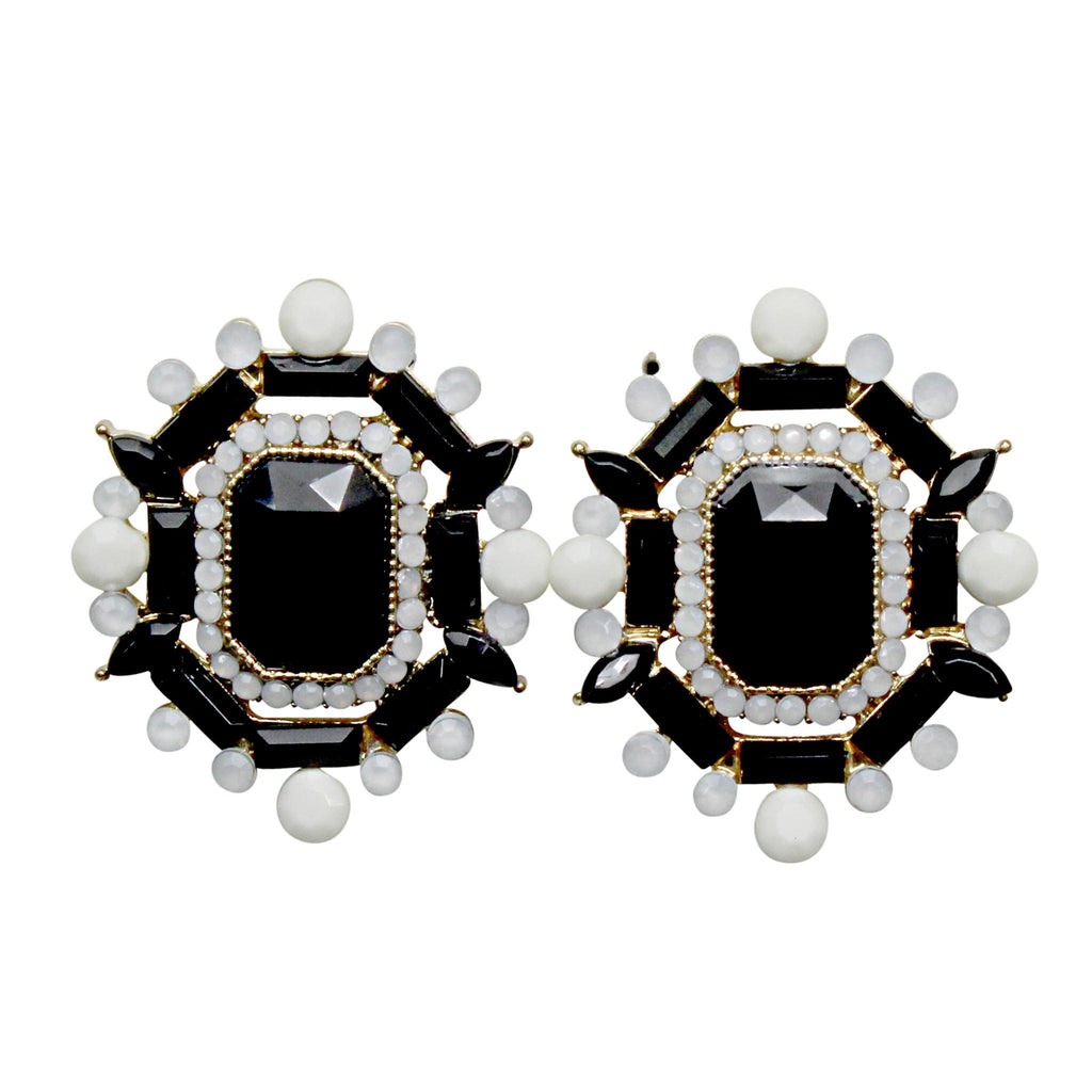 Private Label Black Faceted Statement Studs Size OSFA Muse Boutique Outlet | Shop Designer Clearance Jewelry on Sale | Up to 90% Off Designer Fashion
