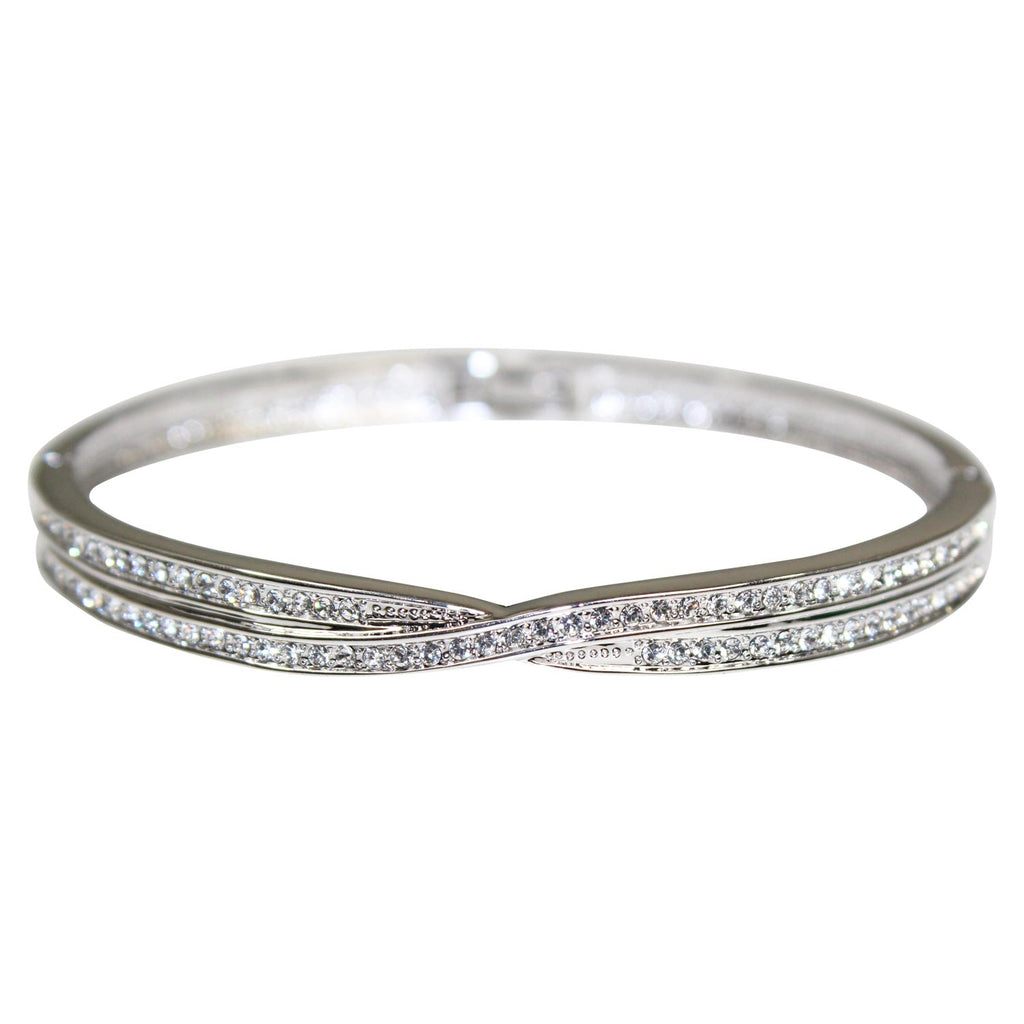 Private Label Silver Cubic Zirconia Twist Bangle Size OS Muse Boutique Outlet | Shop Designer Clearance Jewelry on Sale | Up to 90% Off Designer Fashion