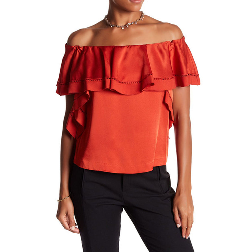 Rachel Zoe Fluo Pink Gaia Off The Shoulder Ruffle Top Size 4 Muse Boutique Outlet | Shop Designer Clearance Tops on Sale | Up to 90% Off Designer Fashion