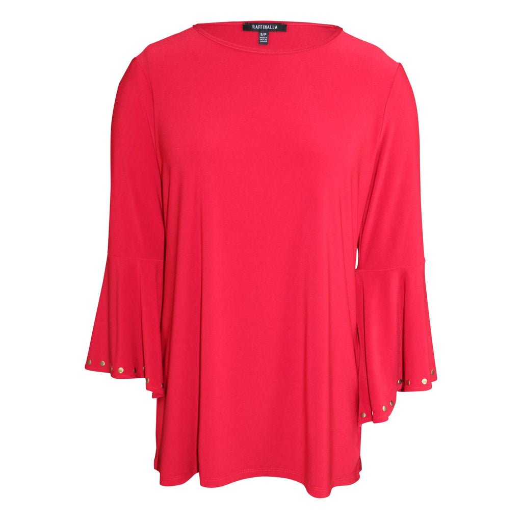 Raffinalla Red Studded Bell Sleeve Top Size Small Muse Boutique Outlet | Shop Designer Three Quarter Sleeve Tops on Sale | Up to 90% Off Designer Fashion