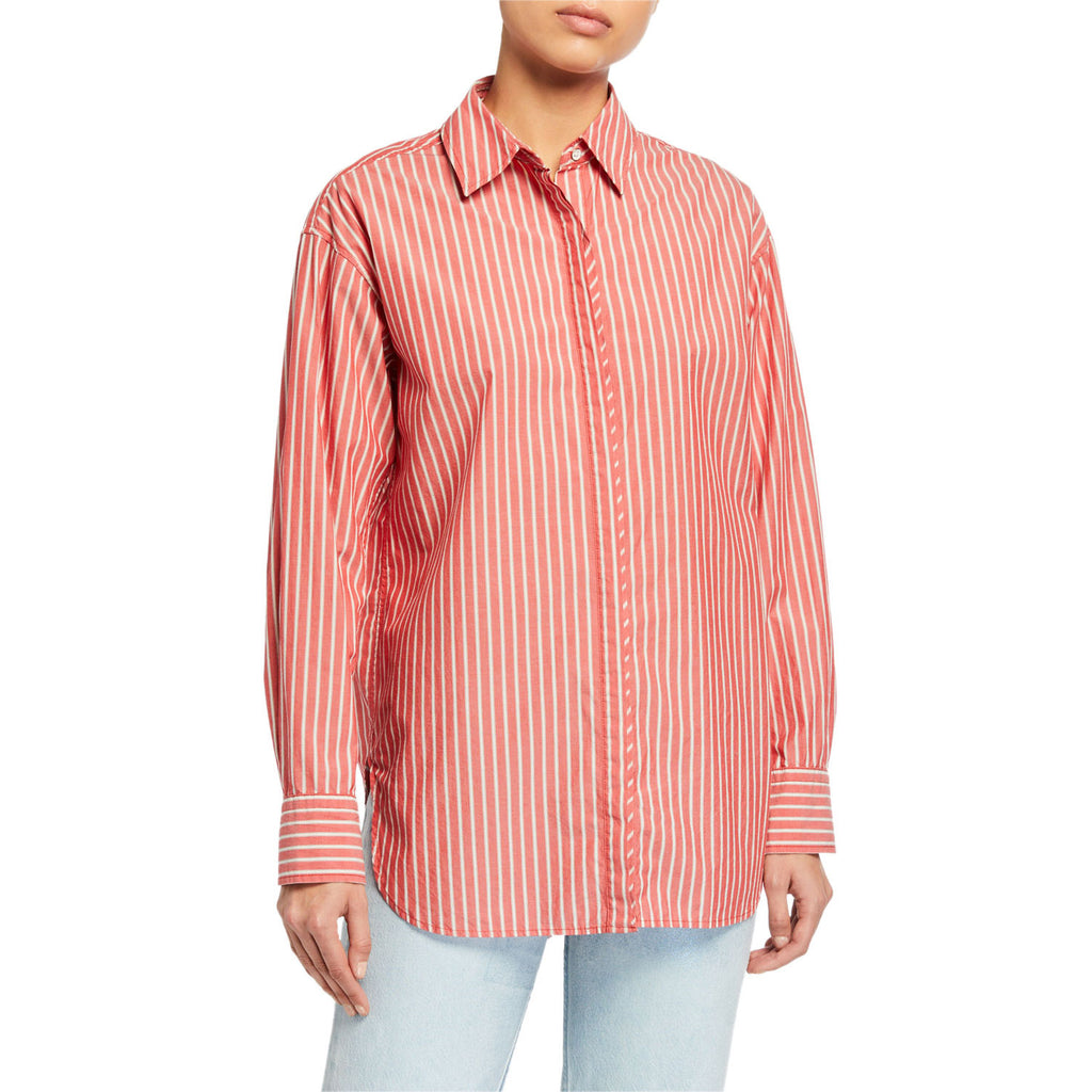 Rag & Bone Red Stripe Alina Striped Top Size Extra Small Muse Boutique Outlet | Shop Designer Long Sleeve Tops on Sale | Up to 90% Off Designer Fashion