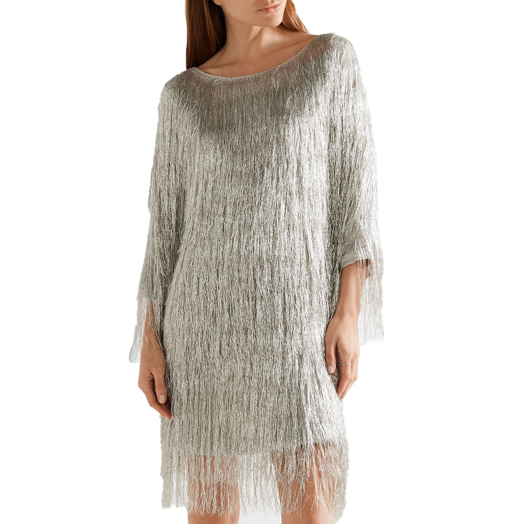 Rachel Zoe Silver Ballina Metallic Fringe Dress Size Extra small Muse Boutique Outlet | Shop Designer Dresses on Sale | Up to 90% Off Designer Fashion