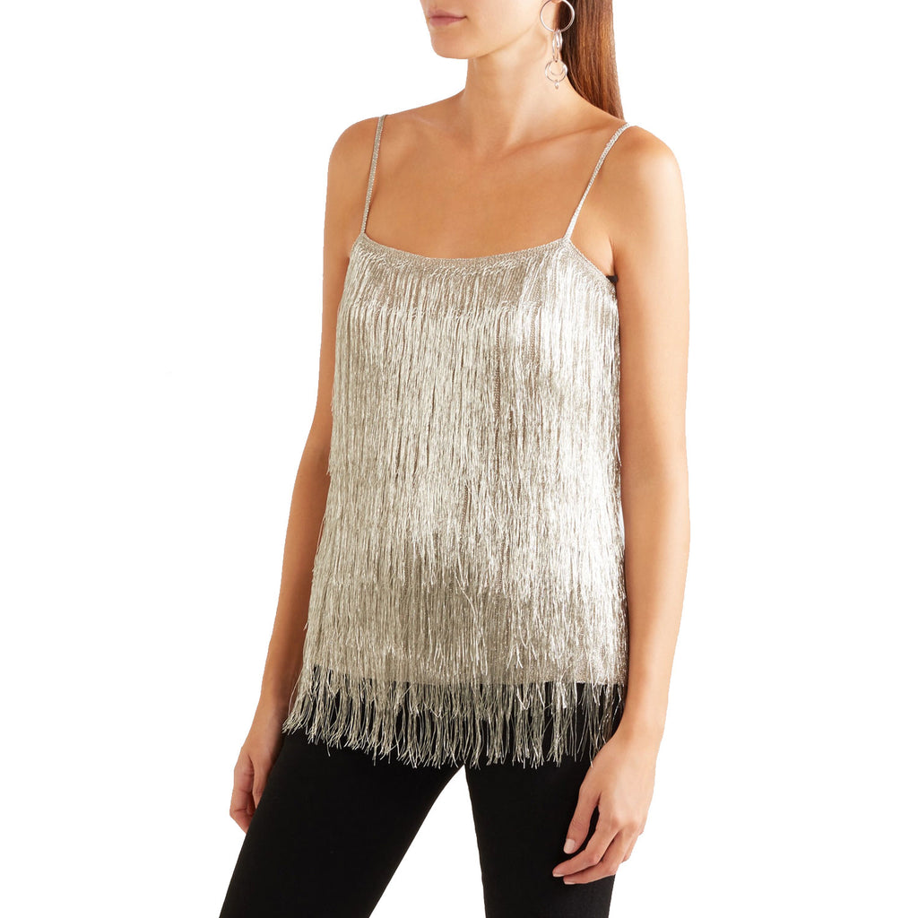 Rachel Zoe Silver Wick Metallic Fringe Top Size Extra Small Muse Boutique Outlet | Shop Designer Sleeveless Tops on Sale | Up to 90% Off Designer Fashion