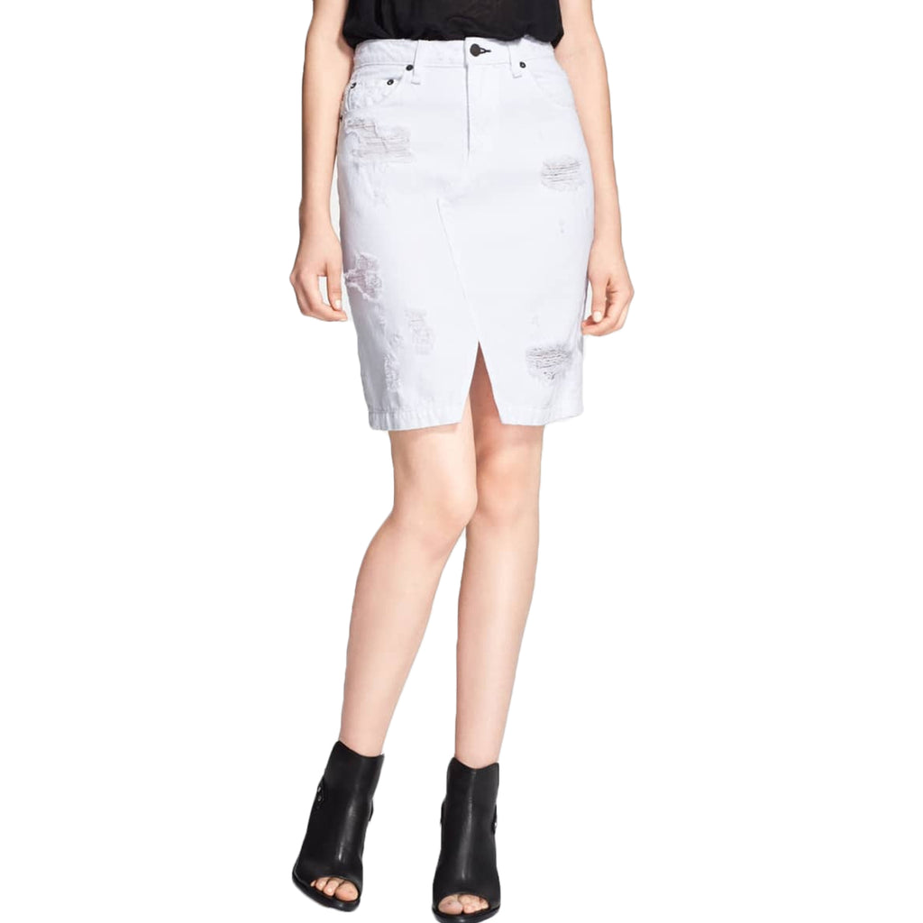Rag & Bone Shredded White Distressed Denim Skirt Size 24 Muse Boutique Outlet | Shop Designer Clearance Skirts on Sale | Up to 90% Off Designer Fashion